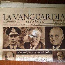Coleccionismo Periódico La Vanguardia: LOTE DE 13 PORTADAS DE LA VANGUARDIA, DE SEPTIEMBRE DE 1945.. Lote 27217365