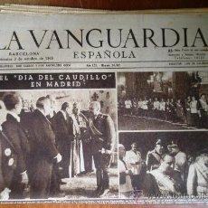 Coleccionismo Periódico La Vanguardia: LOTE DE 21 PORTADAS DE LA VANGUARDIA, DE OCTUBRE DE 1945.. Lote 27217384