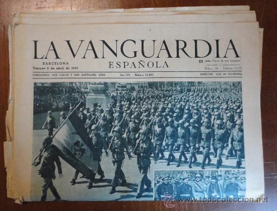 LOTE DE 14 PORTADAS DE LA VANGUARDIA, DE ABRIL DE 1943. (Coleccionismo - Revistas y Periódicos Modernos (a partir de 1.940) - Periódico La Vanguardia)