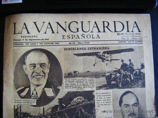 Coleccionismo Periódico La Vanguardia: LA VANGUARDIA. V17 SEPT. 1943 LVX, Nº 24038. MISCELANEA EXTRANJERA II GUERRA MUNDIAL. - Foto 2 - 32296975
