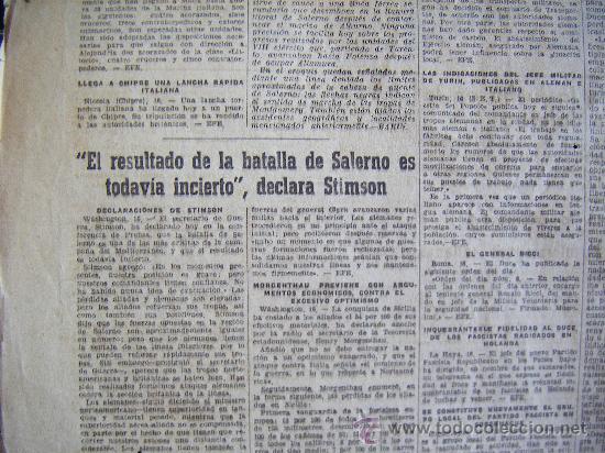 Coleccionismo Periódico La Vanguardia: LA VANGUARDIA. V17 SEPT. 1943 LVX, Nº 24038. MISCELANEA EXTRANJERA II GUERRA MUNDIAL. - Foto 7 - 32296975