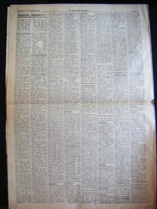 Coleccionismo Periódico La Vanguardia: LA VANGUARDIA. V17 SEPT. 1943 LVX, Nº 24038. MISCELANEA EXTRANJERA II GUERRA MUNDIAL. - Foto 8 - 32296975