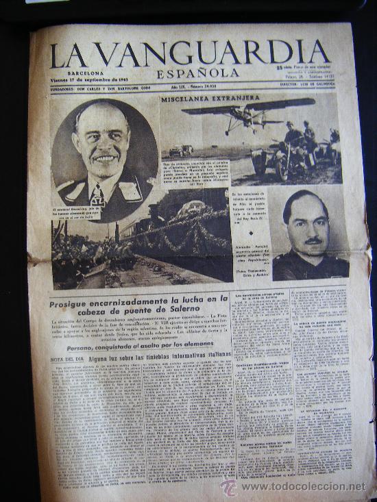 LA VANGUARDIA. V17 SEPT. 1943 LVX, Nº 24038. MISCELANEA EXTRANJERA II GUERRA MUNDIAL. (Coleccionismo - Revistas y Periódicos Modernos (a partir de 1.940) - Periódico La Vanguardia)