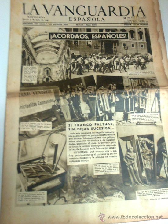ACORDAOS ESPAÑOLES. LA VANGUARDIA 3 JULIO 1947. 12 P. (Coleccionismo - Revistas y Periódicos Modernos (a partir de 1.940) - Periódico La Vanguardia)
