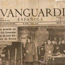 Coleccionismo Periódico La Vanguardia: LA VANGUARDIA AÑO 1951.EL ESCORIAL FUNERALES JOSE ANTONIO PRIMO DE RIVERA.EL CAUDILLO.FRANCO.BARCELO. Lote 36538906