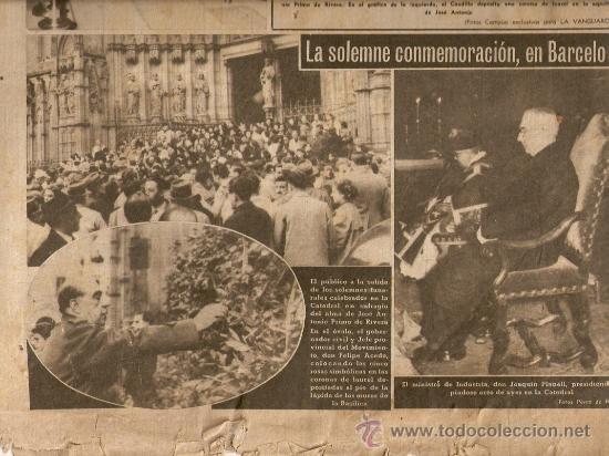 Coleccionismo Periódico La Vanguardia: LA VANGUARDIA AÑO 1951.EL ESCORIAL FUNERALES JOSE ANTONIO PRIMO DE RIVERA.EL CAUDILLO.FRANCO.BARCELO - Foto 2 - 36538906