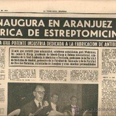 Coleccionismo Periódico La Vanguardia: LA VANGUARDIA AÑO 1954.VIDA FRANCO EN EL PAZO DE MEIRAS.ARANJUEZ FABRICA ESTREPTOMICINA.MERCK.FARMAC. Lote 36540500