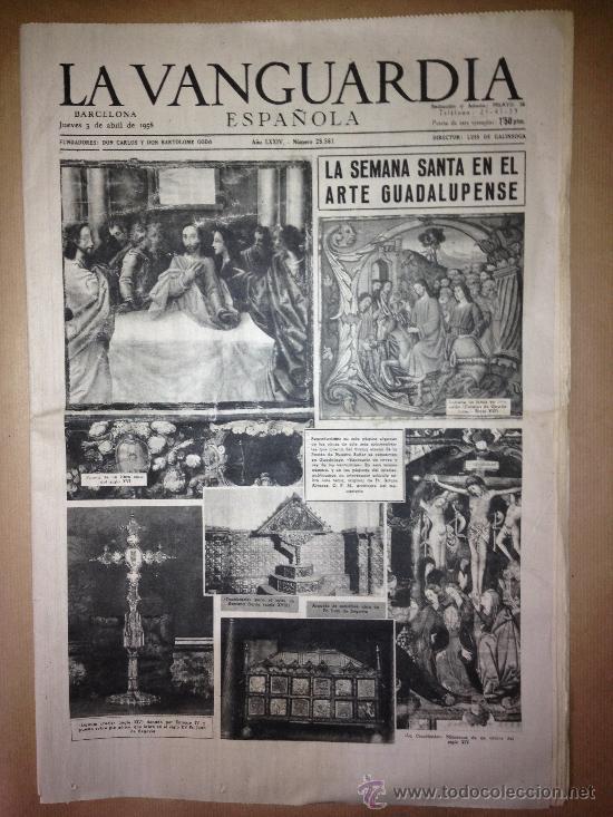 LA VANGUARDIA DEL 3 DE ABRIL DE 1958 - SEMANA SANTA - (Coleccionismo - Revistas y Periódicos Modernos (a partir de 1.940) - Periódico La Vanguardia)