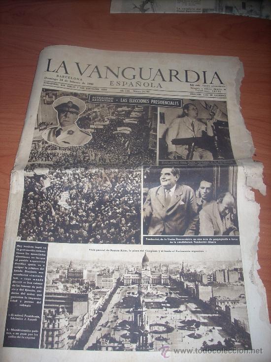 DIARIO LA VANGUARDIA DOMINGO 24 FEBRERO 1946 (Coleccionismo - Revistas y Periódicos Modernos (a partir de 1.940) - Periódico La Vanguardia)