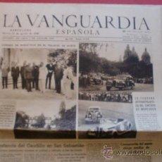 Coleccionismo Periódico La Vanguardia: LA VANGUARDIA 13/08/1946 CARRERA AUTOMOVILISTICA EN MONTJUICH - EL CAUDILLO EN SAN SEBASTIAN. Lote 37226324