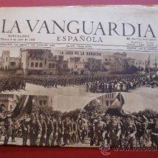 Coleccionismo Periódico La Vanguardia: LA VANGUARDIA 09/07/1946 JURA DE LA BANDERA EN EL CUARTEL DE PEDRALBES - IWC SCHAFFHOUSE. Lote 37226665