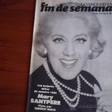 Coleccionismo Periódico La Vanguardia: REV. - LA VANGUARDIA - FIN DE SEMANA - 19 DE JUNIO DE 1981 / MARY SANTPERE. Lote 38472547