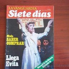 Coleccionismo Periódico La Vanguardia: LA VANGUARDIA - REV.- SIETE DIAS - 28 DE NOVIEMBRE DE 1982 / LLEGA EVITA. Lote 38548843