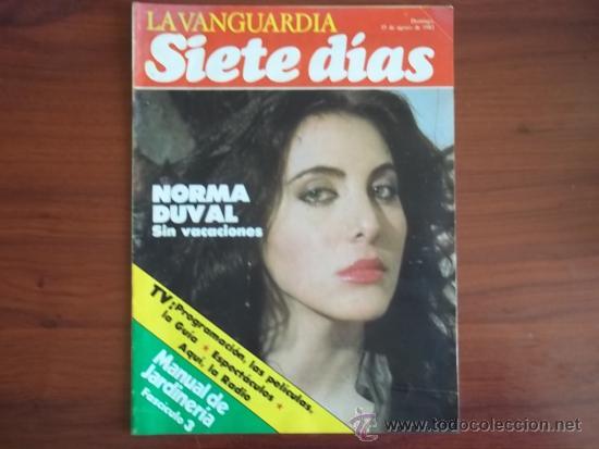 LA VANGUARDIA - SIETE DIAS - 15 DE AGOSTO DE 1982 / NORMA DUVAL / PROGRAMACION TVE (Coleccionismo - Revistas y Periódicos Modernos (a partir de 1.940) - Periódico La Vanguardia)