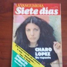 Coleccionismo Periódico La Vanguardia: LA VANGUARDIA - SIETE DIAS - 1 DE AGOSTO DE 1982 / CHARO LOPEZ / PROGRAMACION DE TVE. /. Lote 38561658