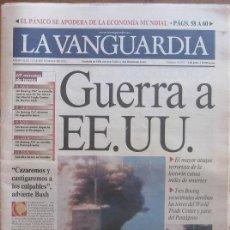 Colecionismo Jornal La Vanguardia: DIARIO LA VANGUARDIA, 12 SEPTIEMBRE 2001. ATENTADO TORRES GEMELAS NUEVA YORK (11-S). Lote 39131938