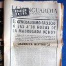 Coleccionismo Periódico La Vanguardia: LA VANGUARDIA 20 DE NOVIEMBRE 1975, EDICIÓN EXTRA, MUERTE DE FRANCO. Lote 40139986