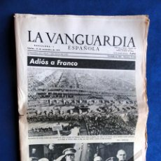 Coleccionismo Periódico La Vanguardia: LA VANGUARDIA 25 DE NOVIEMBRE 1975, ADIÓS A FRANCO. Lote 40140010