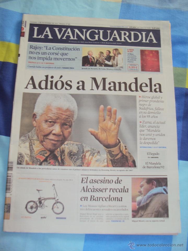 ADIOS A MANDELA. LA VANGUARDIA. (Coleccionismo - Revistas y Periódicos Modernos (a partir de 1.940) - Periódico La Vanguardia)