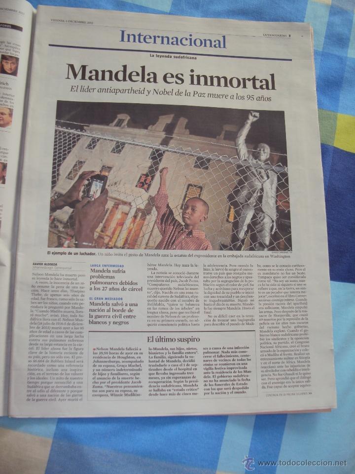 Coleccionismo Periódico La Vanguardia: Adios a Mandela. La Vanguardia. - Foto 2 - 193924376