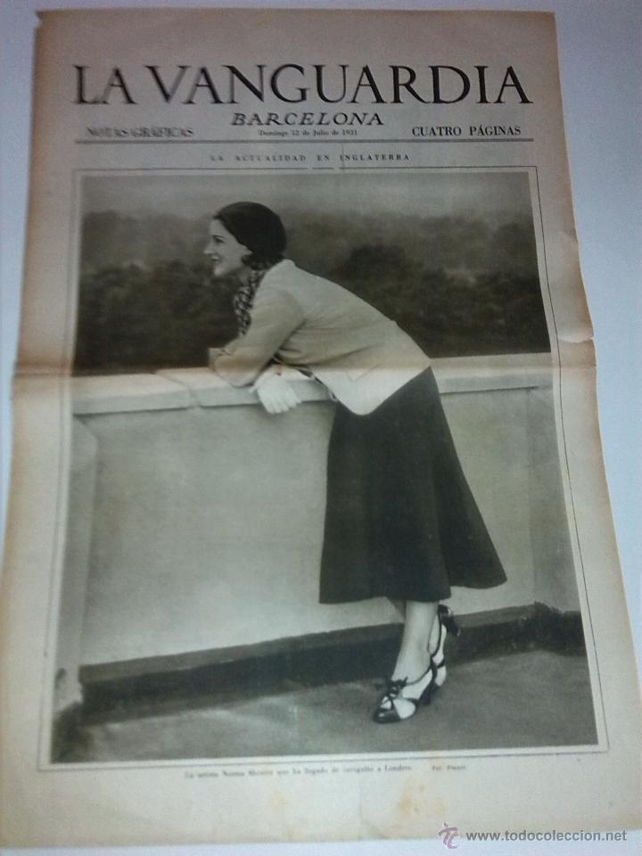 NORMA SHEARER, ARTISTA. BARCELONA FESTIVIDAD SAN CRISTOBAL. LA VANGUARDIA 12 JULIO 1931. 4 P. (Coleccionismo - Revistas y Periódicos Modernos (a partir de 1.940) - Periódico La Vanguardia)