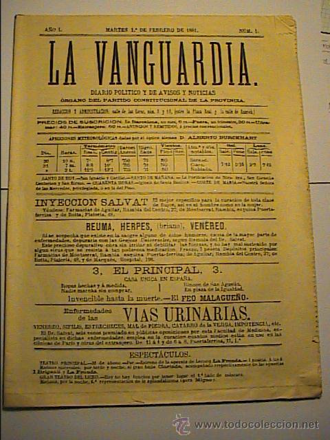 LA VANGUARDIA. Nº 1. 1 DE FEBRERO DE 1881.EDICIÓN DE 1-2-1981 EN SU CENTENARIO. (Coleccionismo - Revistas y Periódicos Modernos (a partir de 1.940) - Periódico La Vanguardia)