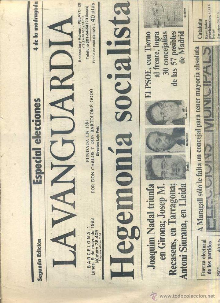 DIARIO LA VANGUARDIA 9 MAYO 1983 - TIERNO GALVÁN ALCALDE (Coleccionismo - Revistas y Periódicos Modernos (a partir de 1.940) - Periódico La Vanguardia)