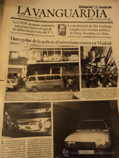 LA VANGUARDIA 17 ENERO 1987 - TERRORISMO ETARRA, EL TRICICLE, ETC (Coleccionismo - Revistas y Periódicos Modernos (a partir de 1.940) - Periódico La Vanguardia)