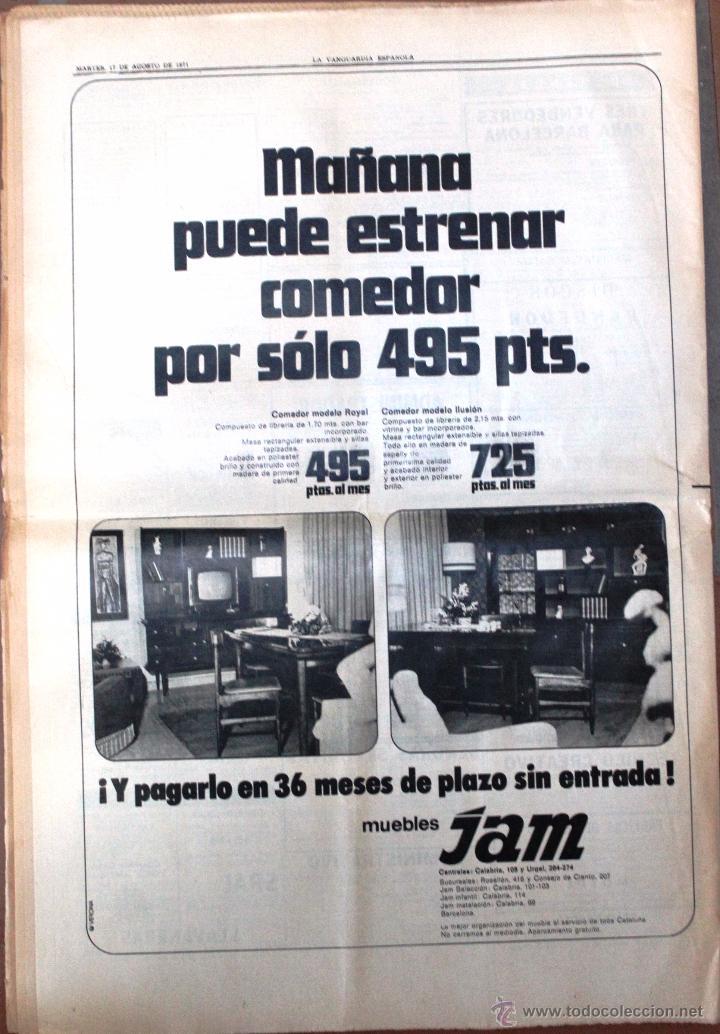Coleccionismo Periódico La Vanguardia: ANTIGUO PERIÓDICO *LA VANGUARDIA*, martes, 17 de agosto de 1971. - Foto 2 - 54734919