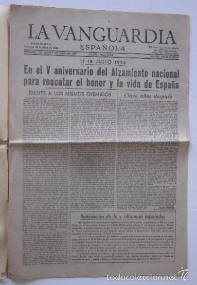 Coleccionismo Periódico La Vanguardia: LA VANGUARDIA DEL 18 DE JULIO DE 1941 - FRANCO, V ANIVERSARIO DEL ALZAMIENTO NACIONAL - Foto 2 - 58254830