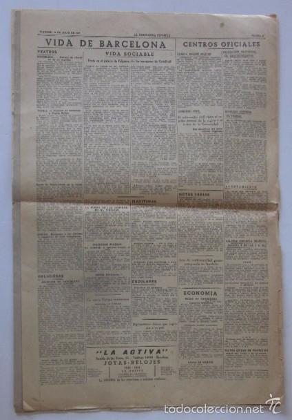 Coleccionismo Periódico La Vanguardia: LA VANGUARDIA DEL 18 DE JULIO DE 1941 - FRANCO, V ANIVERSARIO DEL ALZAMIENTO NACIONAL - Foto 4 - 58254830