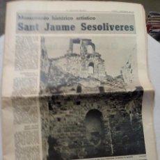 Coleccionismo Periódico La Vanguardia: LA VANGUARDIA ESPAÑOLA. SANT JAUME SESOLIVERES. SEPTIEMBRE 1975. . Lote 62888596