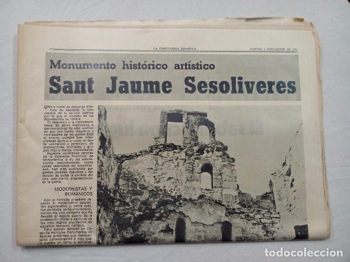 Coleccionismo Periódico La Vanguardia: LA VANGUARDIA ESPAÑOLA. SANT JAUME SESOLIVERES. SEPTIEMBRE 1975. - Foto 2 - 62888596