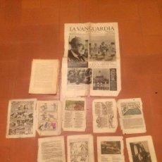 Coleccionismo Periódico La Vanguardia: ANTIGUO RECORTE DEL PERIODICO DE LA VANGUARDIA Y VARIOS DOCUMENTOS DE OTRAS REVISTAS ANTIGUAS . Lote 71416519