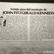 Coleccionismo Periódico La Vanguardia: 20 AÑOS DEL ASESINATO DE JOHN FITZGERALD KENNEDY - ARTÍCULO DEL SUPLEMENTO LA VANGUARDIA 1983 -. Lote 74086035
