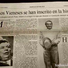 Coleccionismo Periódico La Vanguardia: MUERE FRANZ JOHAM JOHAN - HOJA CLIPPING DE LA VANGUARDIA - LOS VIENESES- ARTUR KAPS- TELEVISION TV. Lote 78271393