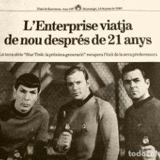 Coleccionismo Periódico La Vanguardia: HOJA NOTICIA DE TV: NOVA SERIE JUN-1988 STAR TREK LA PROXIMA GENERACIO-ENTERPRISE-DIARI DE BARCELONA. Lote 78353085