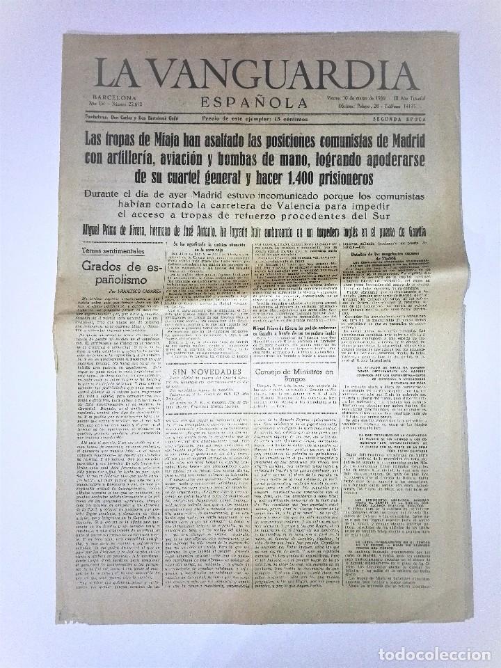 LA VANGUARDIA 2ª EPOCA, 10 DE MARZO DE 1939. CON TEXTO INTEGRO FUERO DEL TRABAJO (Coleccionismo - Revistas y Periódicos Modernos (a partir de 1.940) - Periódico La Vanguardia)