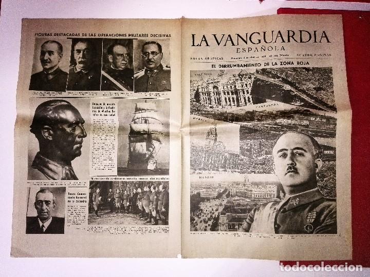 LA VANGUARDIA 4 PAGINAS, 2 DE ABRIL DE 1939, EL DERRUMBAMIENTO DE LA ZONA ROJA (Coleccionismo - Revistas y Periódicos Modernos (a partir de 1.940) - Periódico La Vanguardia)