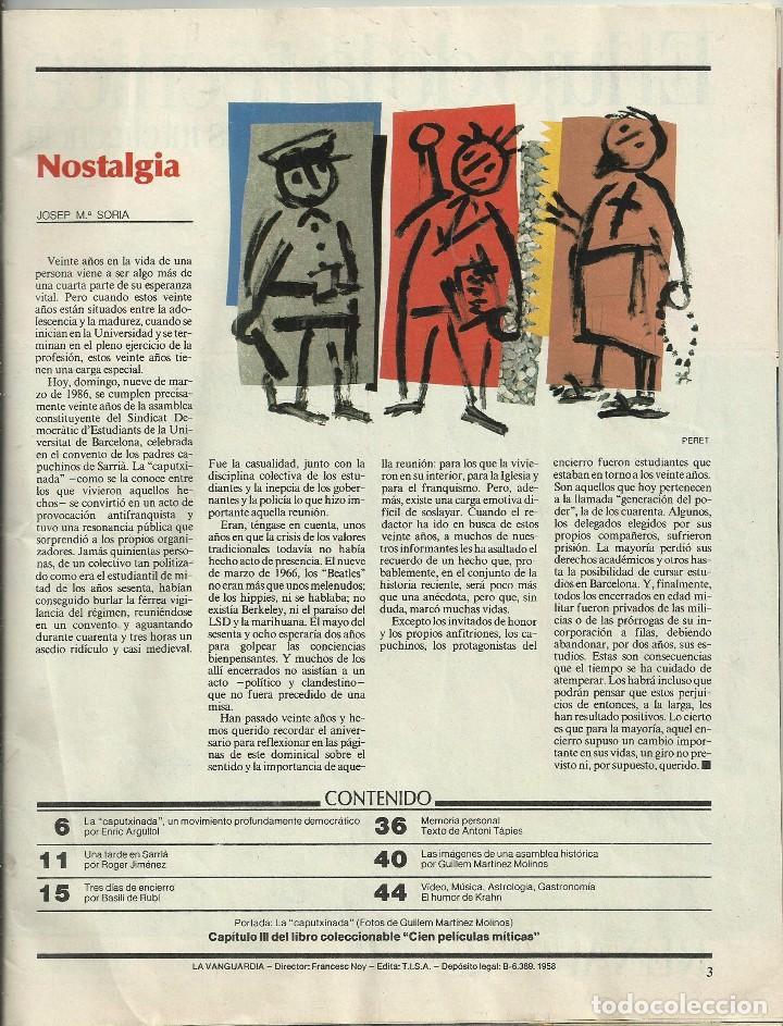 Coleccionismo Periódico La Vanguardia: REVISTA LA VANGUARDIA DOMINGO. 9 MARZO 1986. VEINTE AÑOS DE LA CAPUTXINADA. - Foto 2 - 86502448