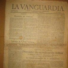 Coleccionismo Periódico La Vanguardia: GUERRA CIVIL LA VANGUARDIA MIERCOLES 30 SEPTIEMBRE 1936. PROYECTO DE MOVILIZACION MILITAR CATALUÑA. Lote 89640984