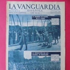 Coleccionismo Periódico La Vanguardia: HOJA LA VANGUARDIA, FRANCO DOMINGO RAMOS -BENDICION PALMA, BARCELONA-1957-REVERSO PUBLICIDAD. R-6567. Lote 92098835