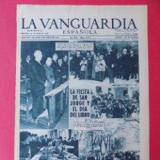 Coleccionismo Periódico La Vanguardia: HOJA LA VANGUARDIA, DIA DE SAN JORGE EN BARCELONA, AÑO 1957 - REVERSO PUBLICIDAD POLIL .. R-6568. Lote 92099445