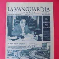 Coleccionismo Periódico La Vanguardia: HOJA LA VANGUARDIA, MUERTE PIO BAROJA - AÑO 1956 - REVERSO PUBLICIDAD RELOJ CYMA .. R-6569. Lote 92100595