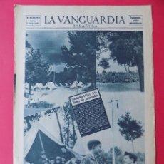 Coleccionismo Periódico La Vanguardia: HOJA LA VANGUARDIA, PORTADA SUPLEMENTO - CAMPAMENTO FRENTE JUVENTUDES,1956 - PUBLICIDAD.. R-6570. Lote 92101405
