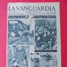 Coleccionismo Periódico La Vanguardia: HOJA LA VANGUARDIA, FRENTE JUVENTUDES ANTE LA VIRGEN DE MONTSERRAT, 1956 -REVERSO PUBLICIDAD. R-6571. Lote 92102375