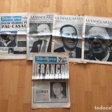 Coleccionismo Periódico La Vanguardia: PAU CASALS,FRANCO,DE GAULLE,TARRADELLAS,JUAN DOMINGO PERÓN*MUERTES*COLECCION DE 5 PERIÓDICOS*AÑOS 70. Lote 97224291