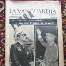 Coleccionismo Periódico La Vanguardia: FRANCISCO FRANCO HA MUERTO - LA VANGUARDIA, EXTRA - 20 NOVIEMBRE DE 1975 - FOTOS Y BIOGRAFIA. Lote 97524655