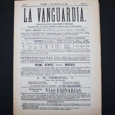 Coleccionismo Periódico La Vanguardia: EDICION FACSIMIL DE LA VANGUARDIA NUM Nº 1 MARTES 1 DE FEBRERO DE 1881. Lote 98082623