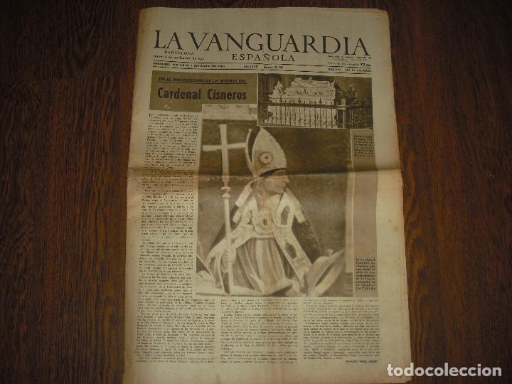 LA VANGUARDIA , NOVIEMBRE 1951. ANIVERSARIO DE LA MUERTE DEL CARDENAL CISNEROS (Coleccionismo - Revistas y Periódicos Modernos (a partir de 1.940) - Periódico La Vanguardia)